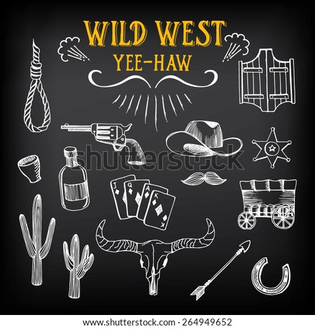 Wild west design sketch. Icons drawing vintage elements. - stock vector