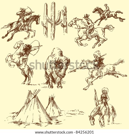 wild west - hand drawn set - stock vector
