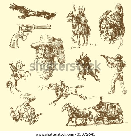 wild west-hand drawn set - stock vector