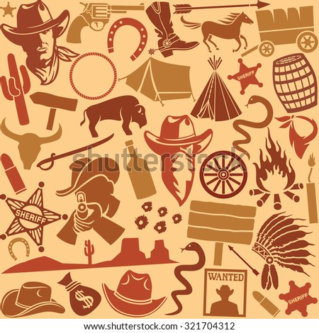 wild west icons set seamless background - stock vector