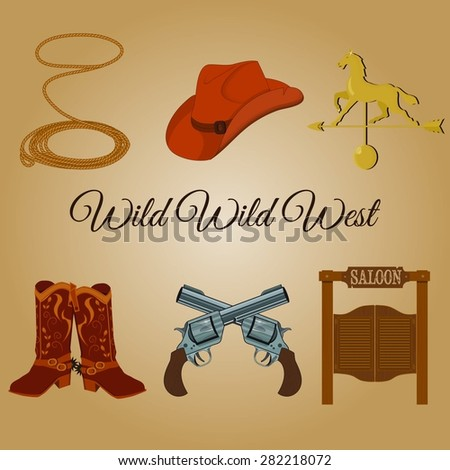 Wild west icons.Vector illustration of cowboy objects. - stock vector