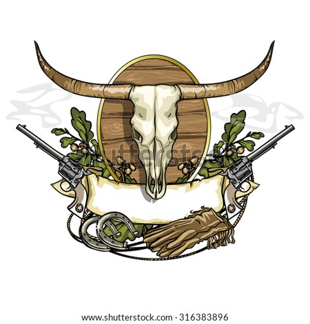 Wild west label with longhorn skull isolated on white - stock vector