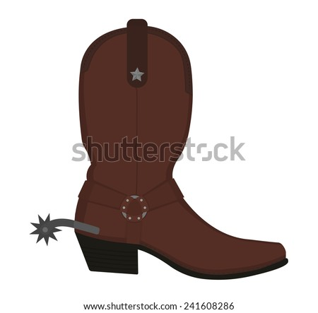 Wild west leather cowboy boot with spur and star. Color vector clip art illustration isolated on white - stock vector