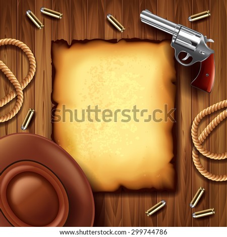 Wild west poster with cowboy stuff photo realistic vector background - stock vector