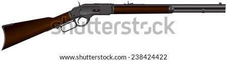 """Wild West rifle, """"The Gun that Won the West"""" realistic vector illustration - stock vector"""