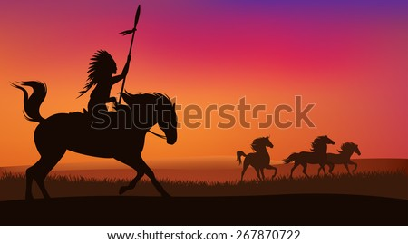 wild west scene with horses and native american rider - vector landscape with silhouettes - stock vector
