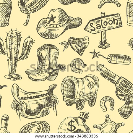 Wild west seamless pattern with cowboy stuff.