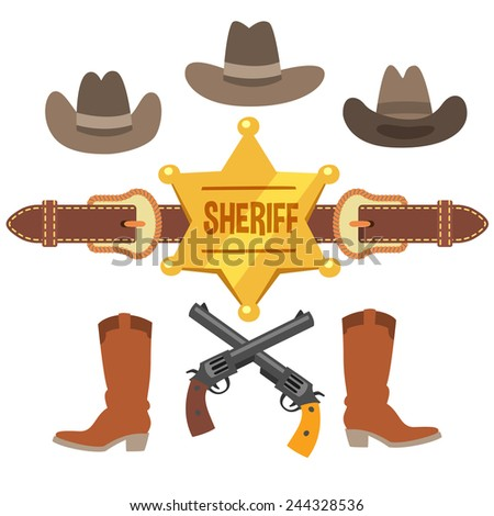 wild west theme accessories set, cowboys belt, hats, crosses guns and sheriff gold star, colorful cartoon flat, doodle style vector art illustration series. - stock vector
