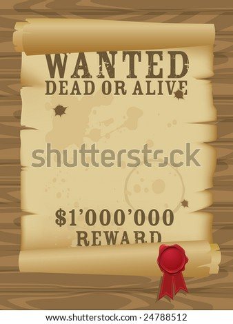 Wild west wanted poster - stock vector