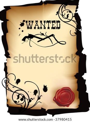 Wild west wanted poster in vector format - stock vector