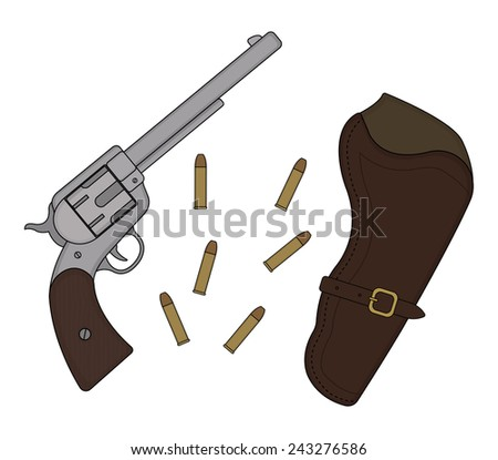 Wild west wood handle revolver with leather holster and bullets. Vector clip art illustration isolated on white - stock vector