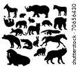 Wildlife silhouettes, Wild animals - stock vector