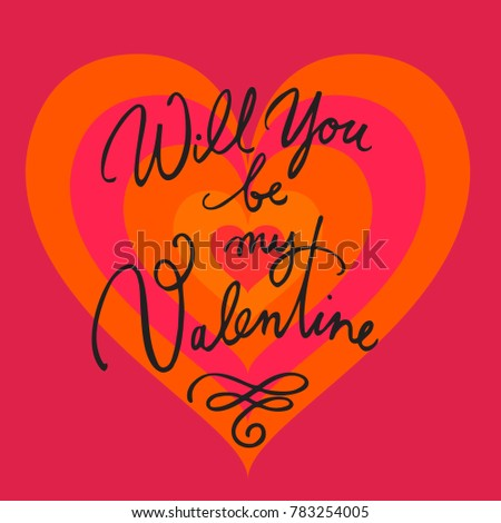 Will You Be My Valentine. Valentines Day Card With Hand Written Brush  Lettering On Red