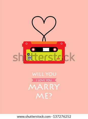 will you marry me cassette card - stock vector