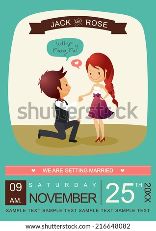 Will you marry me invitation card Vector/Illustrator - stock vector
