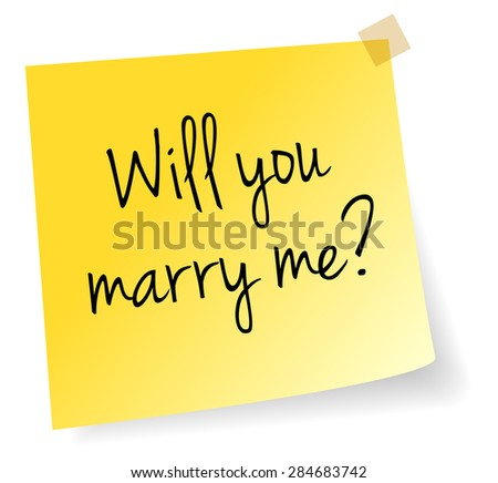 Will You Marry Me Yellow Stick Note Paper Vector