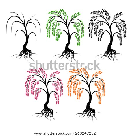Willow with roots. Set of trees on a white background. - stock vector