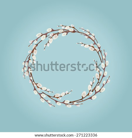 Willow Wreath on Blue Background  - stock vector