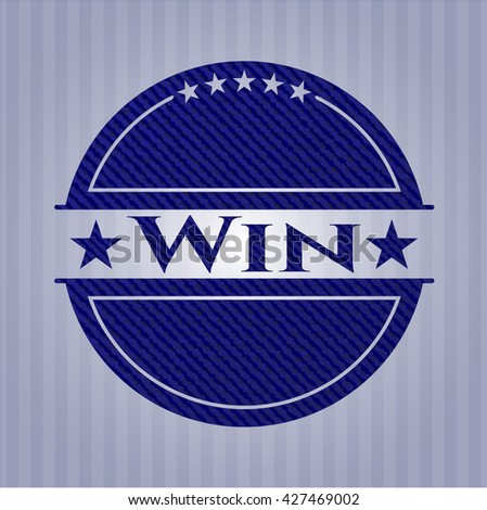 Win emblem with denim high quality background - stock vector