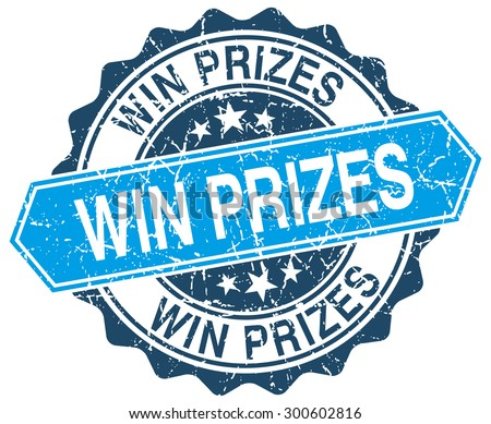 win prizes blue round grunge stamp on white - stock vector