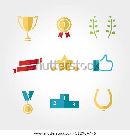 Win set icon: award, prize cup ribbon, star, like, bays, horseshoe - stock vector