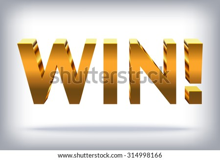 Win! - Vector Shiny Banner, Golden Text for your Presentation - stock vector