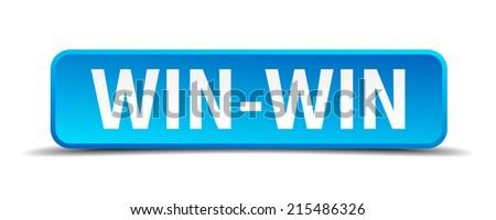 Win-Win blue 3d realistic square isolated button - stock vector