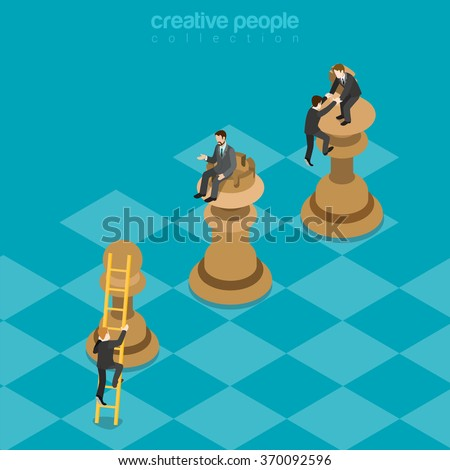 Win-win game strategy king rook pawn flat 3d isometry isometric business planning benefits concept web vector illustration. Businessmen climbing top chess figures. Creative people collection. - stock vector