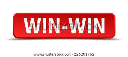 Win-Win red 3d square button isolated on white - stock vector