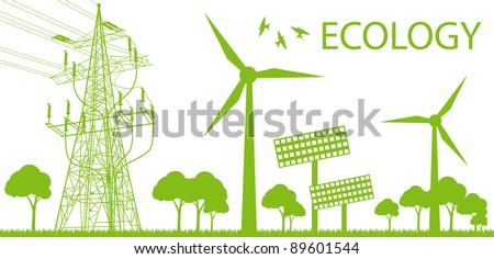 Wind alternative energy generator green vector background and high voltage line - stock vector