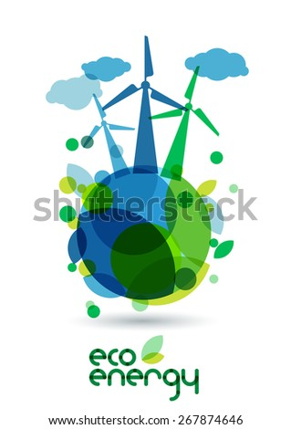 Wind alternative energy generator on the green Earth. Abstract vector illustration. Ecology background, concept for save earth day.  - stock vector