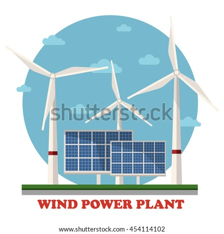 Wind and solar power plants with wind turbines and squares facing sun to maximize energy and electricity gain. Concept of clean and renewable, sustainable energy, caring for ecology - stock vector
