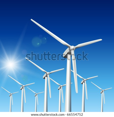 Wind driven generators, turbines over blue sky, vector. - stock vector