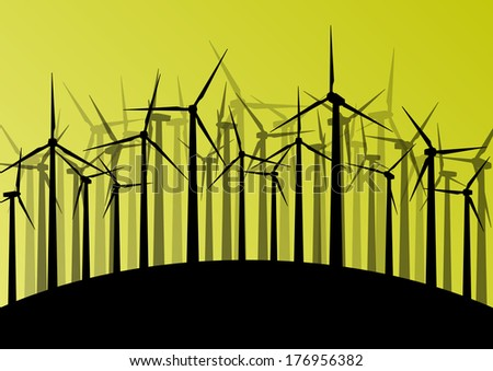 Wind electricity generators and windmills detailed ecology electricity silhouettes illustration collection abstract background vector concept - stock vector