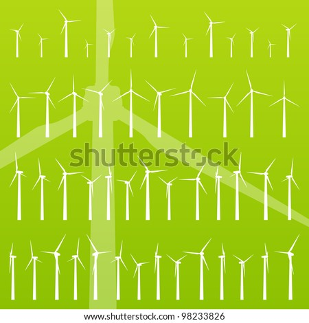 Wind electricity generators and windmills detailed editable ecology silhouettes illustration collection background vector - stock vector