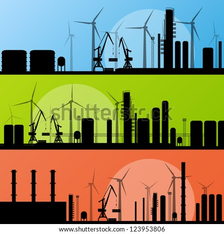 Wind electricity generators and windmills in industrial sea and ocean harbor factory landscape ecology illustration background vector - stock vector