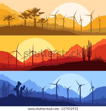Wind electricity generators, windmills in desert palm tree and cactus plants mountain landscape ecology illustration background vector - stock vector