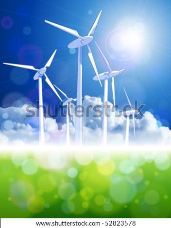 wind energie & green meadow - stock vector
