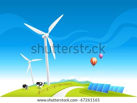 Wind Farm and Solar Panels, vector illustration. - stock vector