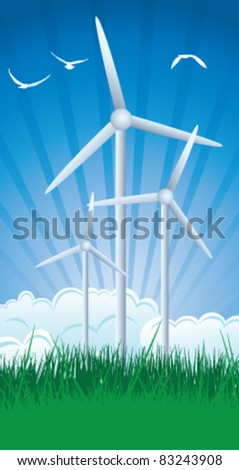 Wind farm in grass over blue sky.  Vector illustration. - stock vector