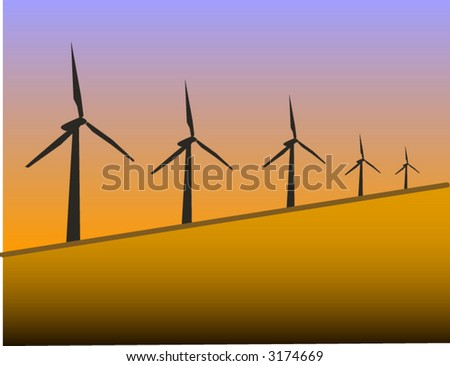 wind farm in sunset background - stock vector