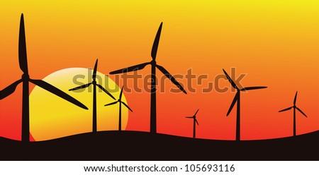 wind farm silhouette, vector image, alternative energy - stock vector