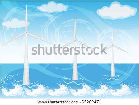 wind farms in sea - stock vector