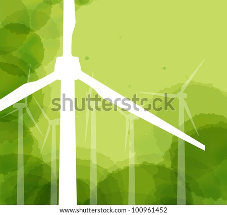 Wind generator ecology background vector - stock vector