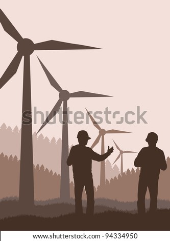 Wind generators and engineers in front of them vector background