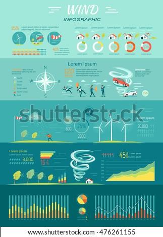 Wind Infographic Tornado Hurricane Set Natural Stock