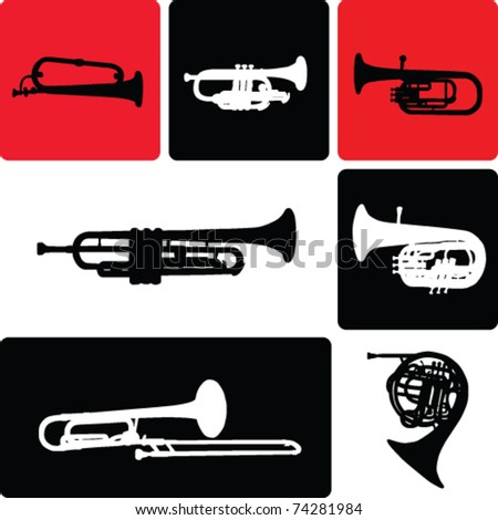 wind instruments collection vector - stock vector