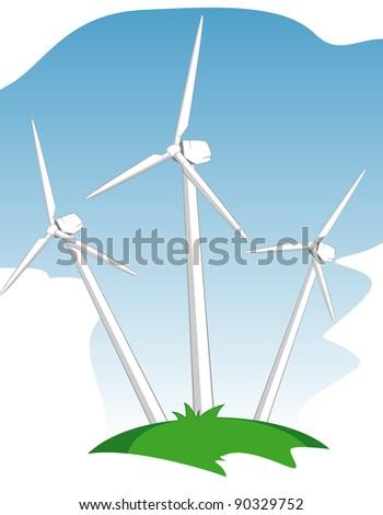 wind mill power generators - stock vector