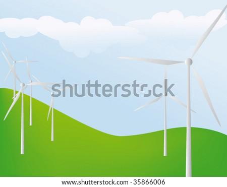wind power - stock vector