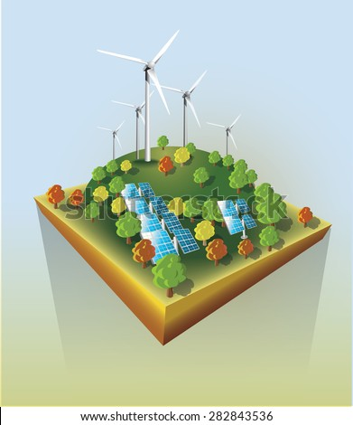 Wind power and sun energy  plants. Vector illustration. - stock vector